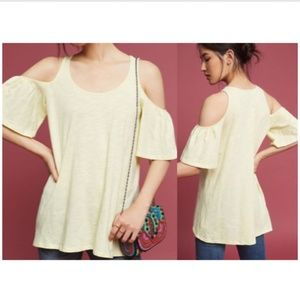 Anthro Pure + Good Promenade Cold Shoulder Top